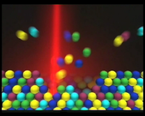 Ion sputtering in ion probe, snapshop from a MNHN movie